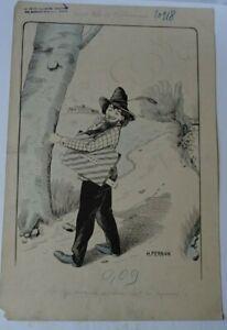 H FERRAN -DESSIN HUMORISTIQUE-L'artiste croquant un chêne -bois de boulogne 1900