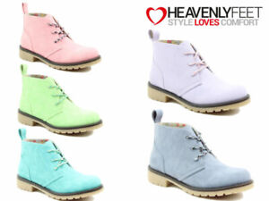 Ladies Ankle Boots Heavenly Feet Lace Up Desert Memory Foam Comfort Casual Shoes