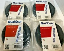 Lot of 4 - QualGear Velcro Cable Tie Roll .79 x 14.75' Black - New