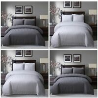 Satin Stripe 250 Thread Count Quilt Duvet Cover with Pillow Case Bedding Set