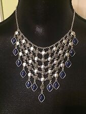 LUCKY BRAND Silver-Tone Lapis and Rock Crystal Statement Necklace NWT L@@K !!!!