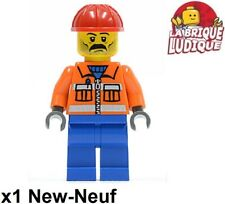 Lego Figurine Minifig city ouvrier worker chantier orange casque cty0016 NEUF