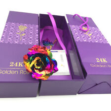 24K Colorful Gold Rose Flower Golden Dipped Valentine's Day With Box Unique Gift