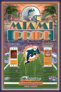 Miami Dolphins TWO-TIME SUPER BOWL CHAMPIONS Commemorative Poster (1973-74)