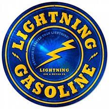 Lightning GASOLINE ROUND METAL SIGN (PST 14)