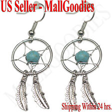 E001 Turquoise Dreamcatcher Dream Catcher Earrings Feathers Bead