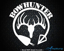 Bow Hunter Arrow Hunting Hunt Deer Rack Car Decal / Laptop Sticker - WHITE 6""