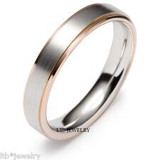 TWO TONE GOLD WEDDING BANDS,14K WHITE & ROSE GOLD MEN WOMENS WEDDING RINGS 5MM