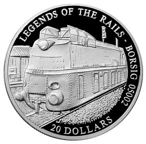 Liberia 20 Dollar 2001 Legends of the Rails Borsig 05002 Silver Coin