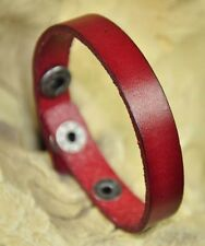 Unisex Simply Cool Single Band Surfer Leather Bracelet Wristband Dark RED