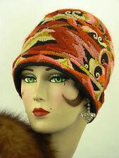 CAPPELLO Vintage Originale anni'20 CLOCHE, estremamente rara, feltri con Woolen RICAMO
