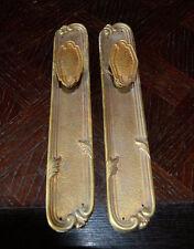 Antique Pair French Door Knobs Backplates Handle Set Brass Ormolu