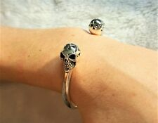 STERLING SILVER 925 Skull Cuff Bracelet Rock Punk Goth Biker Exclusive Design