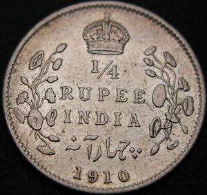 INDIA (British) 1/4 Rupee 1910 - Silver - VF - 1771 ¤