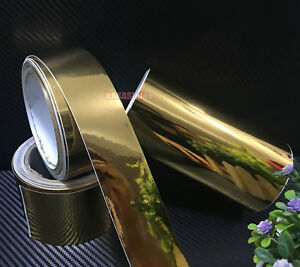 DIY Adhesive Vehicle Glossy Gold Mirror Chrome Vinyl Tape Wrap Sticker Film - CB