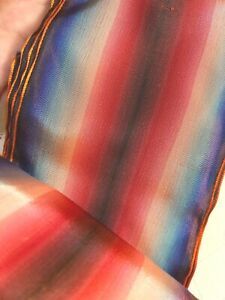 """Vintage Rayon 1940s Ribbon 3"""" Rouge Blue Peach Blush Stripe 1yd  Made in France"""
