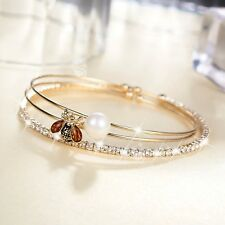 14k yellow gold made with SWAROVSKI crystal slim bangle openable bracelets set