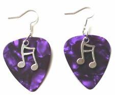 New Purple Guitar Pick Music Pendant Earrings Jewellery Costume Glam Rock