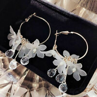 NEW Acrylic Flower Crystal Tassel Dangle Women Earrings Wedding Elegant Jewelry