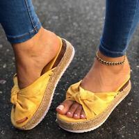 Ladies Peep Toe Bowknot Platform Slip On Heel Wedge Summer Sandals Size Women's