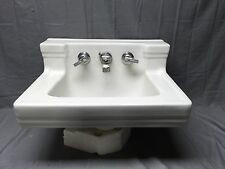Vtg Art Deco White Porcelain Ceramic Shelf Back Bath Sink Old Standard 188-17E