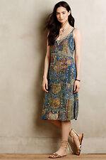 Anthropologie Sennen Beaded Silk Dress Long Blue Summer Boho Sundress Size 6 S