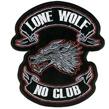 "Hot Leathers, LONE WOLF, NO CLUB, Iron-On / Saw-On Rayon PATCH - 13"" x 15"""