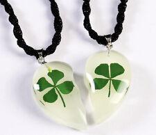 6pair Lots Lour Leaf Clover Glow in the Dark half heart Design Pendant Necklace