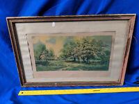 1900s Morris & Bendien Artist Signed Print May Blossoms Spring ANtique Wood