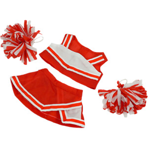 8-10 inch Red Cheerleader Outfit & Pom Poms - teddy bear stuffed animal clothes