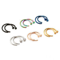 Men Women Stainless Steel Open Hoop Stud Nose Ring Body Piercing Kit 20ga