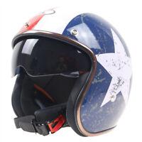 DOT Vintage Open Face Motorcycle Helmet w/Sun Visor Cruiser Street Helmet M/L/XL