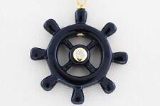 18K Yellow Gold Chain Round White Diamond Black Onyx Nautical Wheel SI 1 Pendant