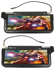 "(2) Rockville RPSV12-BK 12.1"" Black Car Sun Visor Monitors/High Definition!"