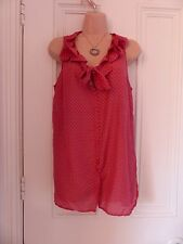 Gorgeous red with green flowers cotton/silk blend Gap sleeveless blouse size S