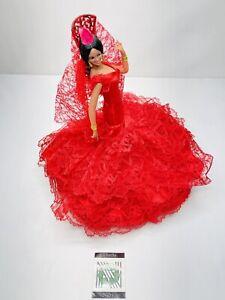 "Original Marin Chiclana 12"" Spanish Flamenco Dancer Red Lace Dress Figurine"