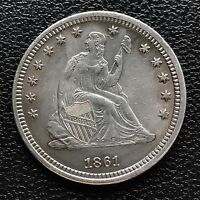 1861 Seated Liberty Quarter 25c Philadelphia UNCIRCULATED BU MS Toned #6020