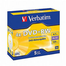5 x  VERBATIM DVD+RW DVDRW 4x SPEED 4.7GB REWRITABLE BLANK DVD DISCS (43229)