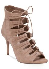 Jessica Simpson Mahiri Lace Up Ghillie Sandals Open Toe Heels, Taupe Pumps, 10M