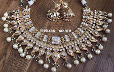 Gold Jadua Kundan Necklace Set. Bollywood Style Imitation Gold Party Jewellery