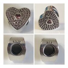 PANDORA PINK PAVED HEART CHARM REF 791555PCZS RRP £55.00 DISCONTINUED