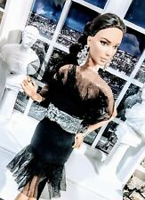 OOAK Barbie size Black Mesh cocktail dress and rhinestone ensemble!  LAST ONE !