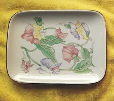 Vintage Hand-Painted Floral Porcelain Soap Trinket Tray Dish by Ben Rickert Inc