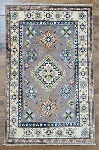 Afghani Handmade Kazak   Area Rug   Colour: Beige / Brown   Size; 130 x 83 cm