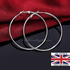 925 Sterling Silver 50mm Smooth Large Hoop Earrings 5cm Hooped UK SELLER