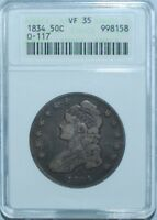 1834 ANACS VF35 O-117 Small Date Small Letters Capped Bust Half Dollar