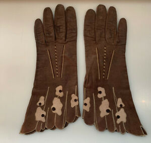 Perrin's Vintage Brown Tan Leather Stitched Gloves Size 7 Suede Lining