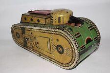 1930's MARX TIN LITHO KEYWIND 10 In. WW I ARMY TANK w/Doughboy