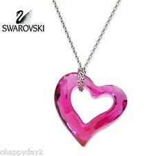 signed Swarovski~ mini LOVE HEART Pendant~ fuchsia crystal Necklace ~ NIB~ yes.
