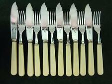 Nice Vintage 12 Piece 6 setting A.E Poston fisheaters set Ivory Colour resin